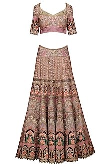 Gold Embroidered Lehenga Set by Avdi
