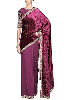 Magenta Purple Embroidered Saree with Blouse by Avdi