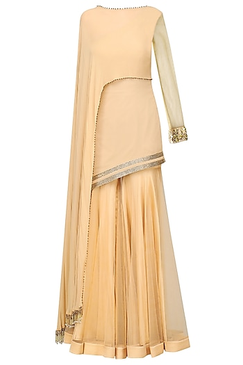 Gold Embellished Tunic with Sharara Pants by Avdi