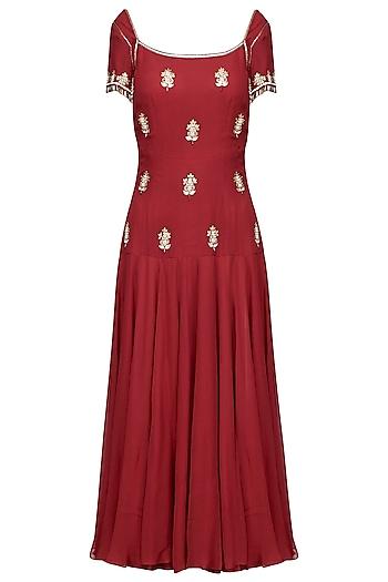 Burgundy Embellished Tunic by Avdi
