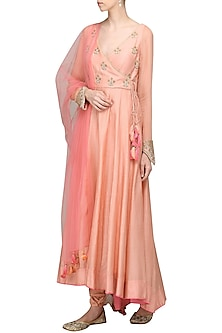 Peach Embroidered Anarkali Set by Avdi