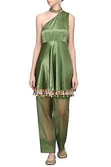 Olive Green One Shoulder Embellished Tunic with Pants by Avdi
