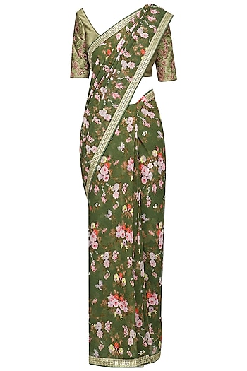 Olive Green Floral Printed Sequins Saree with Blouse by Avdi