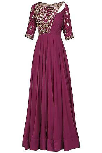 Magenta Embroidered Anarkali Gown by Avdi