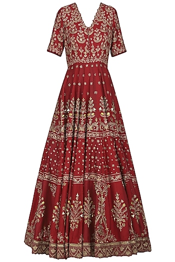 Burgundy Embroidered Anarkali Gown by Avdi