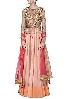 Peach Embroidered Anarkali Gown by Avdi