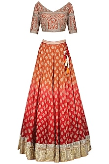 Burnt Orange Embroidered Lehenga Set by Avdi