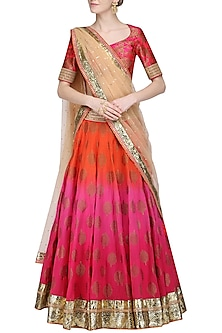 Fuchia Pink Shaded Lehenga Set by Avdi