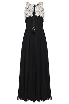 Black Tunic with Embroidered Jacket by Avdi