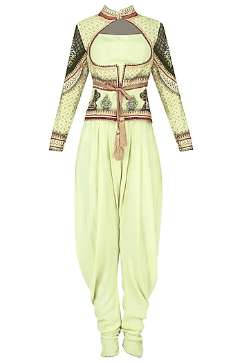 Lemon Digital Print Jacket with Dhoti Pants Set by Avdi