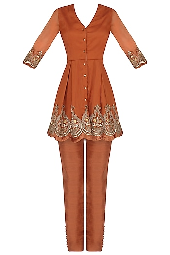 Burnt Orange Embroidered Kurta with Pants Set by Avdi