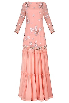 Peach Embroidered Kurta with Tiered Sharara Pants Set by Avdi