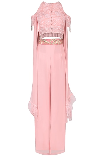 Pink Cold Shoulder Crop Top with Palazzo Pants Set by Avdi