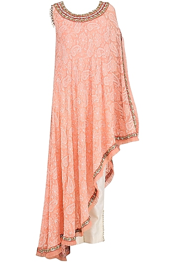 Orange Embroidered Chikankari Asymmetrical Cape with Pants by Avdi