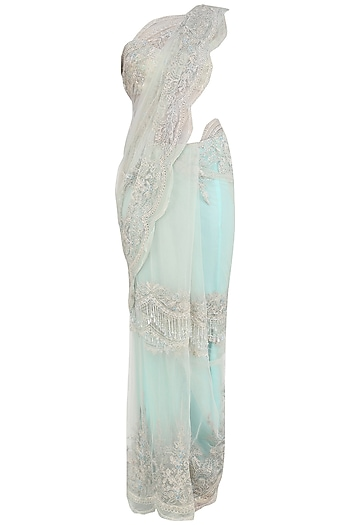 Mint Blue and Ivory Saree with Swarovski Blouse by Avdi