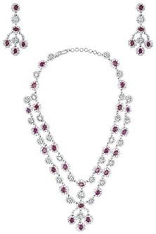 Rhodium plated white and pink stones necklace set by 7th Avenue