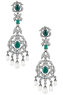 Rhodium plated stones and pearl dangler earrings by 7th Avenue