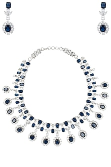Rhodium plated white and blue stones necklace set by 7th Avenue