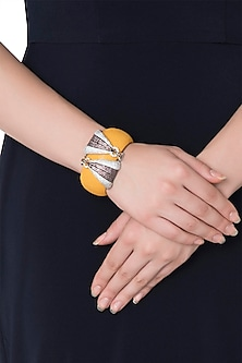Rhodium plated orange handcuff by 7th Avenue