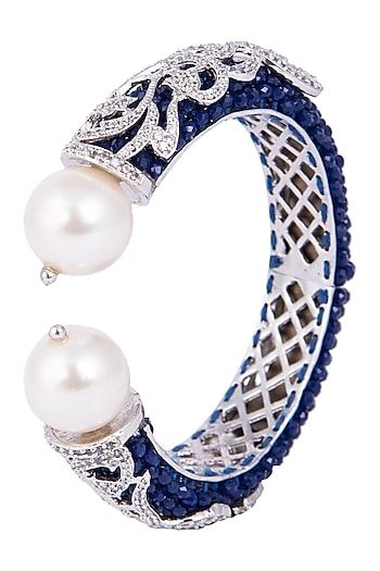 Rhodium plated stone and pearls bracelet by 7th Avenue