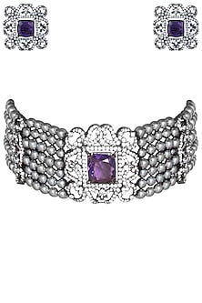 Rhodium plated amethyst stone and pearls choker necklace set by 7th Avenue