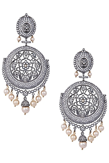 Rhodium plated stones and pearl earrings by 7th Avenue