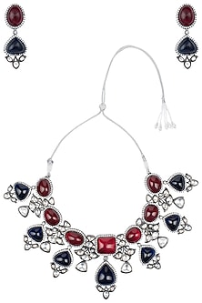 Rhodium plated ruby and tanzanite stones necklace set by 7th Avenue