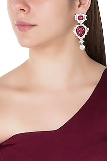 Rhodium plated red stones and pearl earrings by 7th Avenue