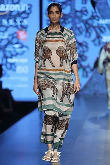 Brown and Green Printed Pyjama Pants by Aartivijay Gupta