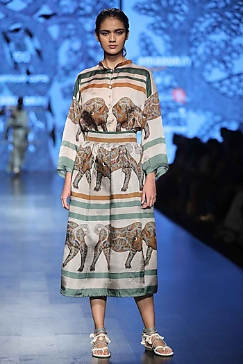 Brown and Green Printed Skirt by Aartivijay Gupta