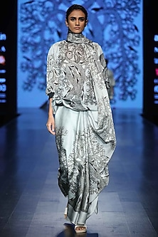 Grey Printed Saree by Aartivijay Gupta
