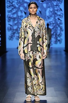 Black Printed Long Jacket by Aartivijay Gupta