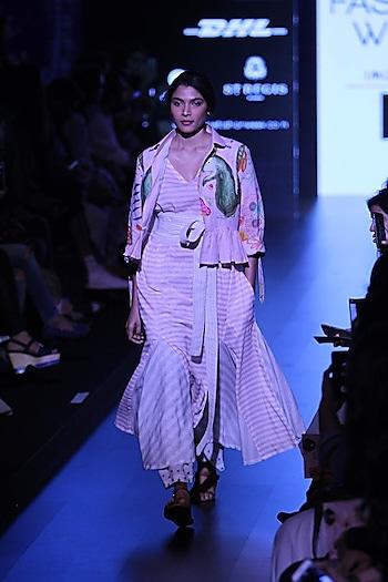Off white striped panalled maxi dress by Aartivijay Gupta