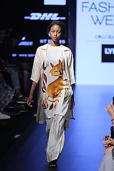 White big bunny face tunic dress by Aartivijay Gupta