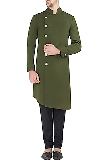 Military Green Aysmmetrical Angrakha Sherwani Set by Ankit V Kapoor