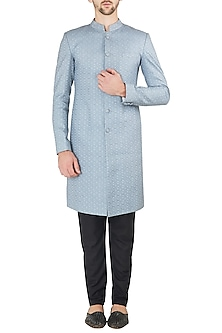 Blue and Grey Embroidered Sherwani Set by Ankit V Kapoor