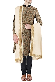 Black Embroidered Sherwani Set by Ankit V Kapoor