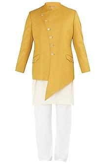 Mustard Asymmetrical Bandhgala Jacket Set by Ankit V Kapoor