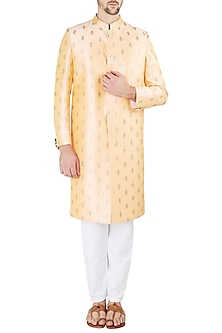 Citrus Peach Embroidered Sherwani Set by Ankit V Kapoor