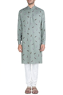 Bottle Green Printed Kurta With Churidaar Pants by Ankit V Kapoor