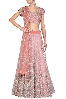 Rose Gold Embroidered Lehenga Set by AWIGNA by Varsha and Rittu