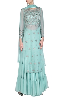Mint Green Embroidered Sharara Set by AWIGNA by Varsha and Rittu