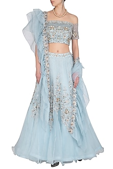Ice Blue Embroidered Lehenga Set by AWIGNA by Varsha and Rittu