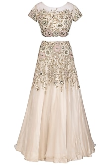 Off White Embroidered Lehenga Set by AWIGNA by Varsha and Rittu