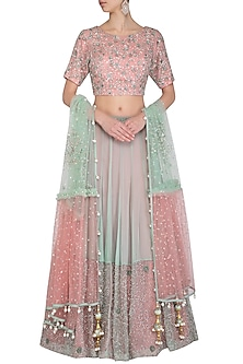 Mint Green & Peach Embroidered Lehenga Set by AWIGNA by Varsha and Rittu