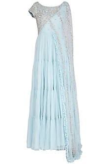 Ice Blue Embroidered Saree Gown by AWIGNA by Varsha and Rittu