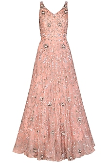 Peach Embroidered Gown by AWIGNA by Varsha and Rittu
