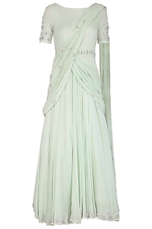 Mint Green Embroidered Gown by AWIGNA by Varsha and Rittu