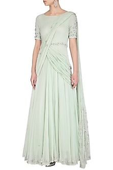 Mint Green Embroidered Gown by AVIGNA by Varsha and Rittu