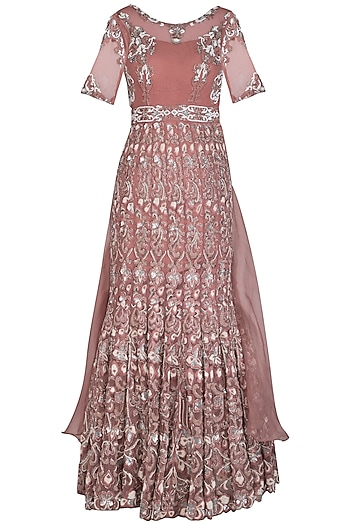 Rose Gold Embroidered Gown by AWIGNA by Varsha and Rittu